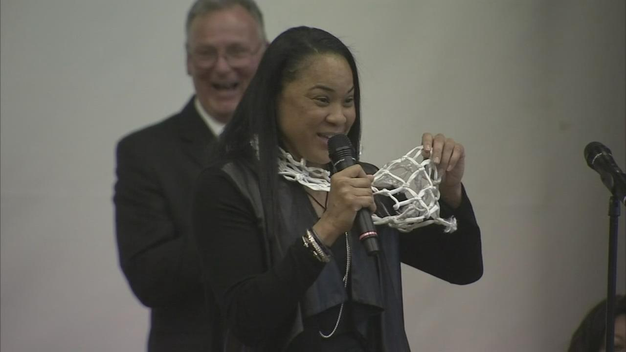 Championship celebration for Dawn Staley
