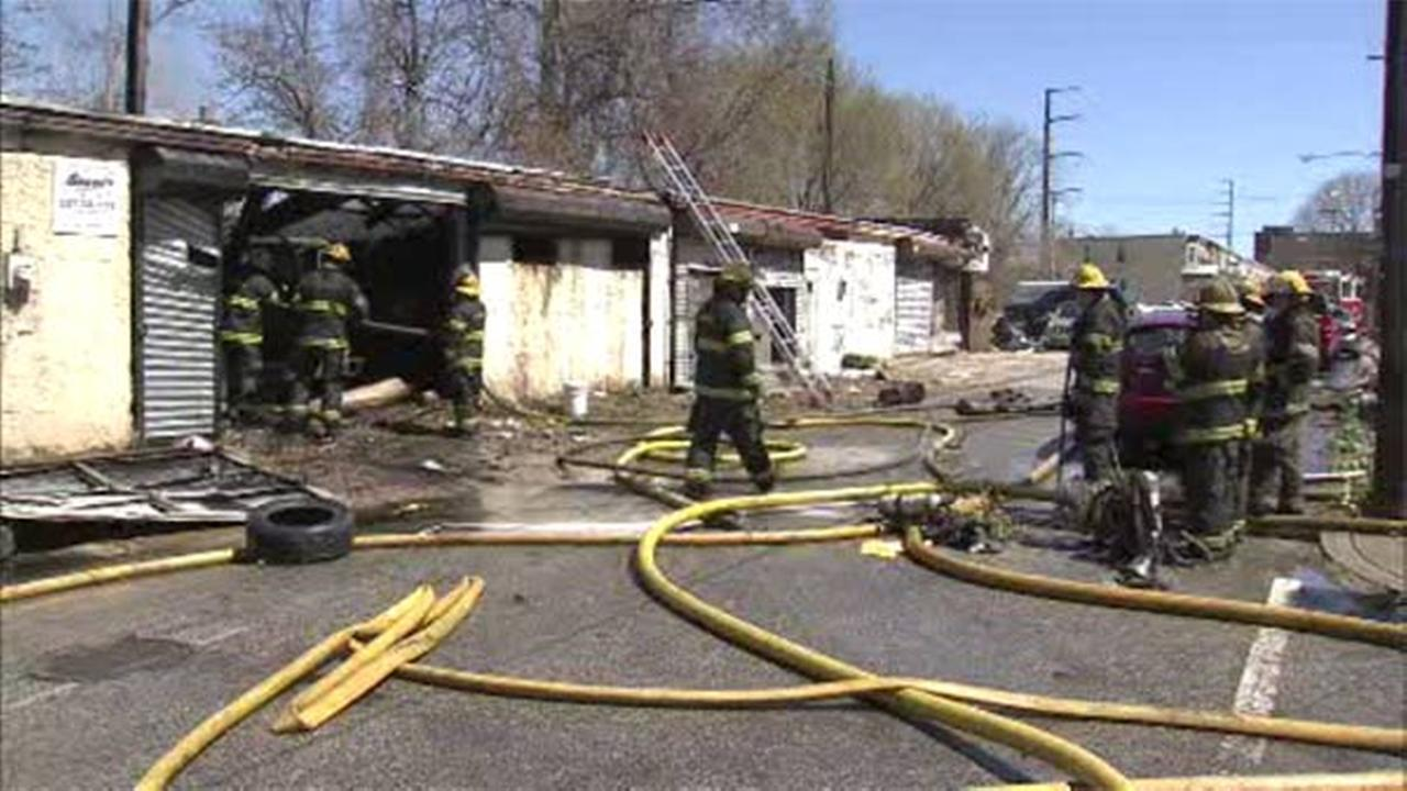 Crews battle fire in North Philly commercial building