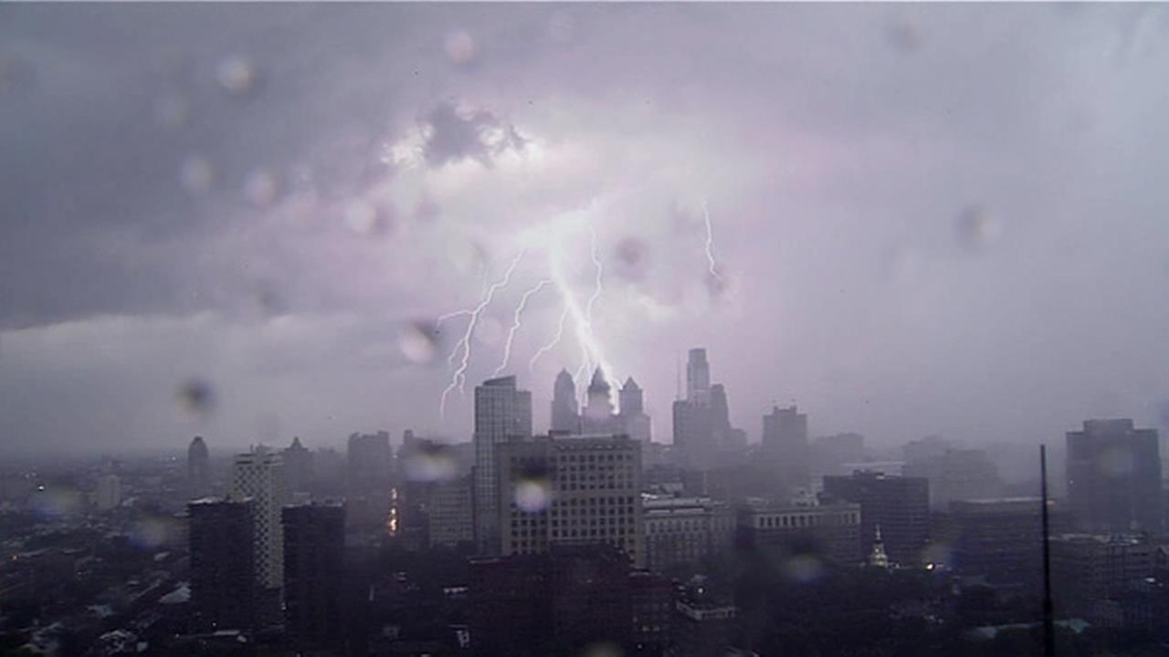 Lightning and heavy rains hit the Philadelphia area on July 14, 2014. Center City Philadelphia / Sky 6