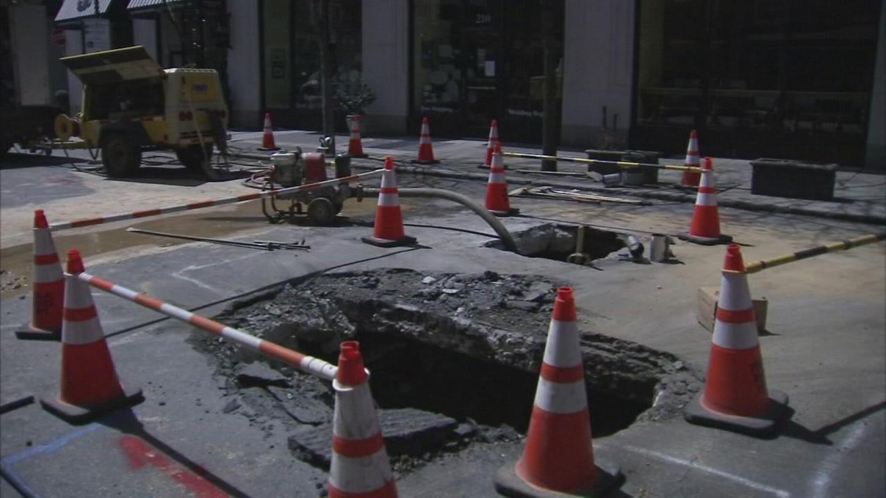Part of 17th St. in Center City closed after hole opens in road