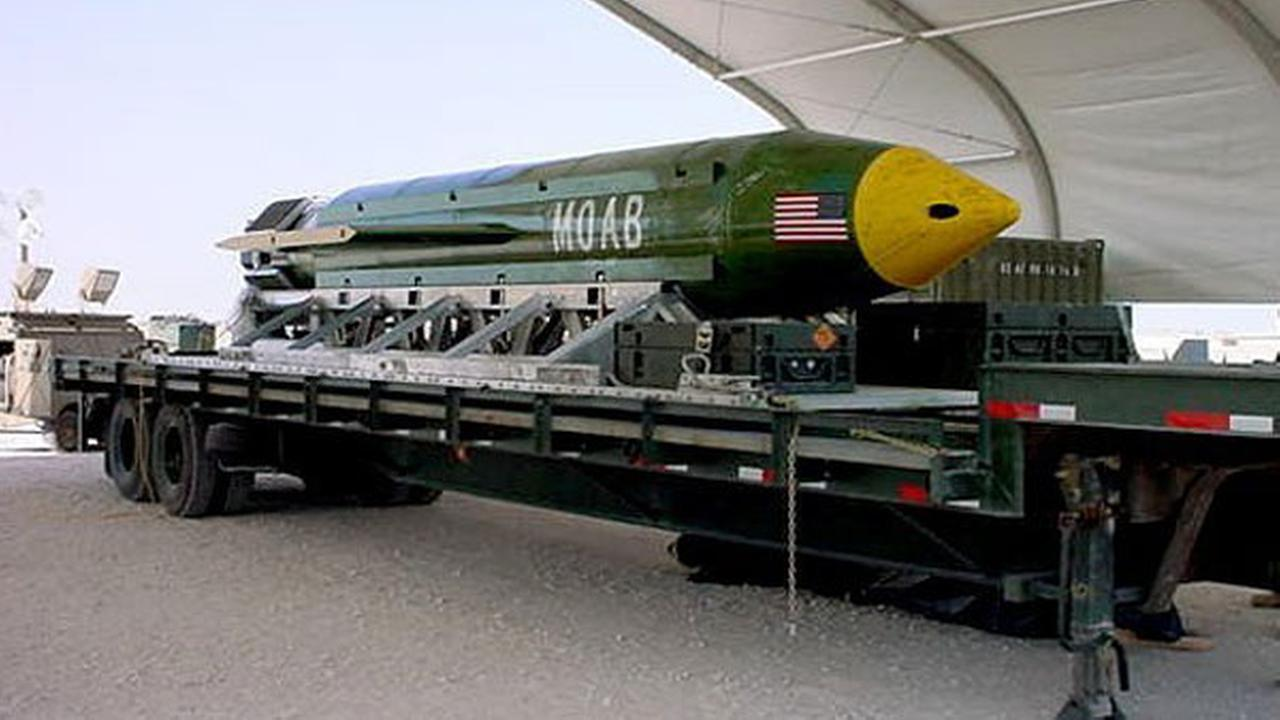 This photo provided by Eglin Air Force Base shows the GBU-43/B Massive Ordnance Air Blast bomb.