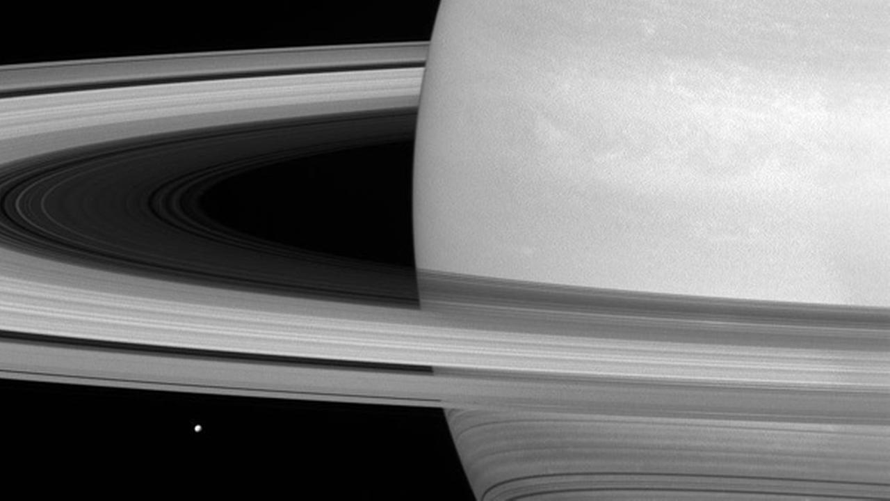 In this undated photo provided by NASA, Saturns icy moon Mimas is dwarfed by the planets enormous rings.