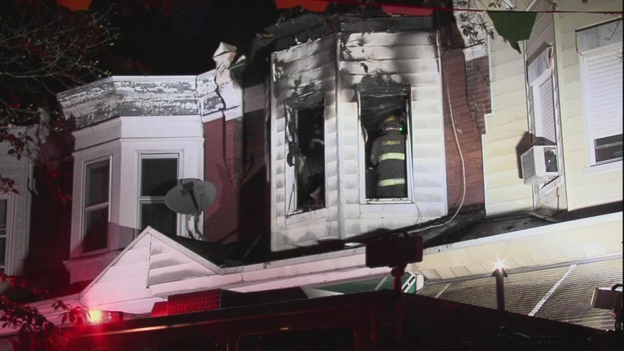 Row house fire in West Philadelphia