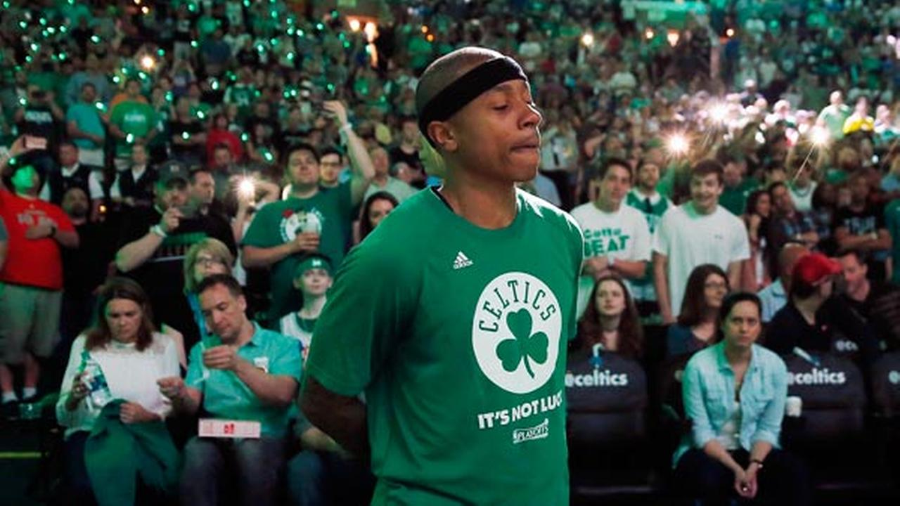Boston Celtics Isaiah Thomas stands by himself during team introductions before a first-round NBA playoff basketball game against the Chicago Bulls Sunday, April 16, 2017.