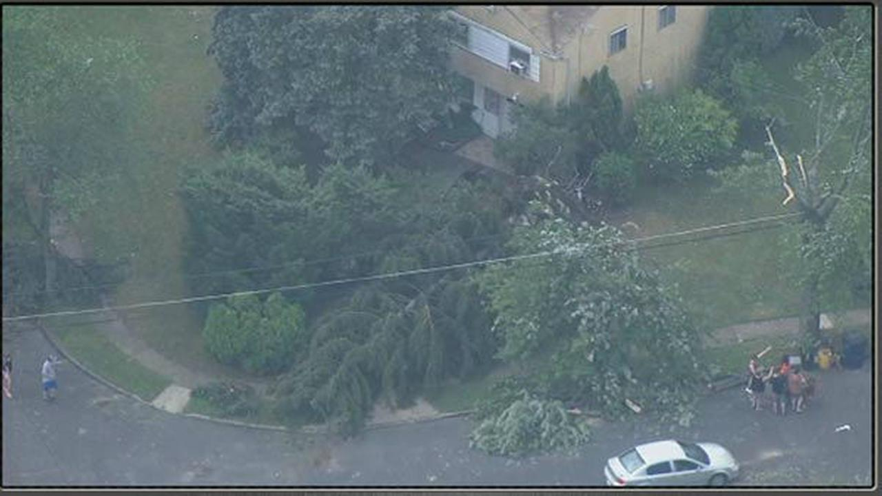 Storm damage in Voorhess, New Jersey