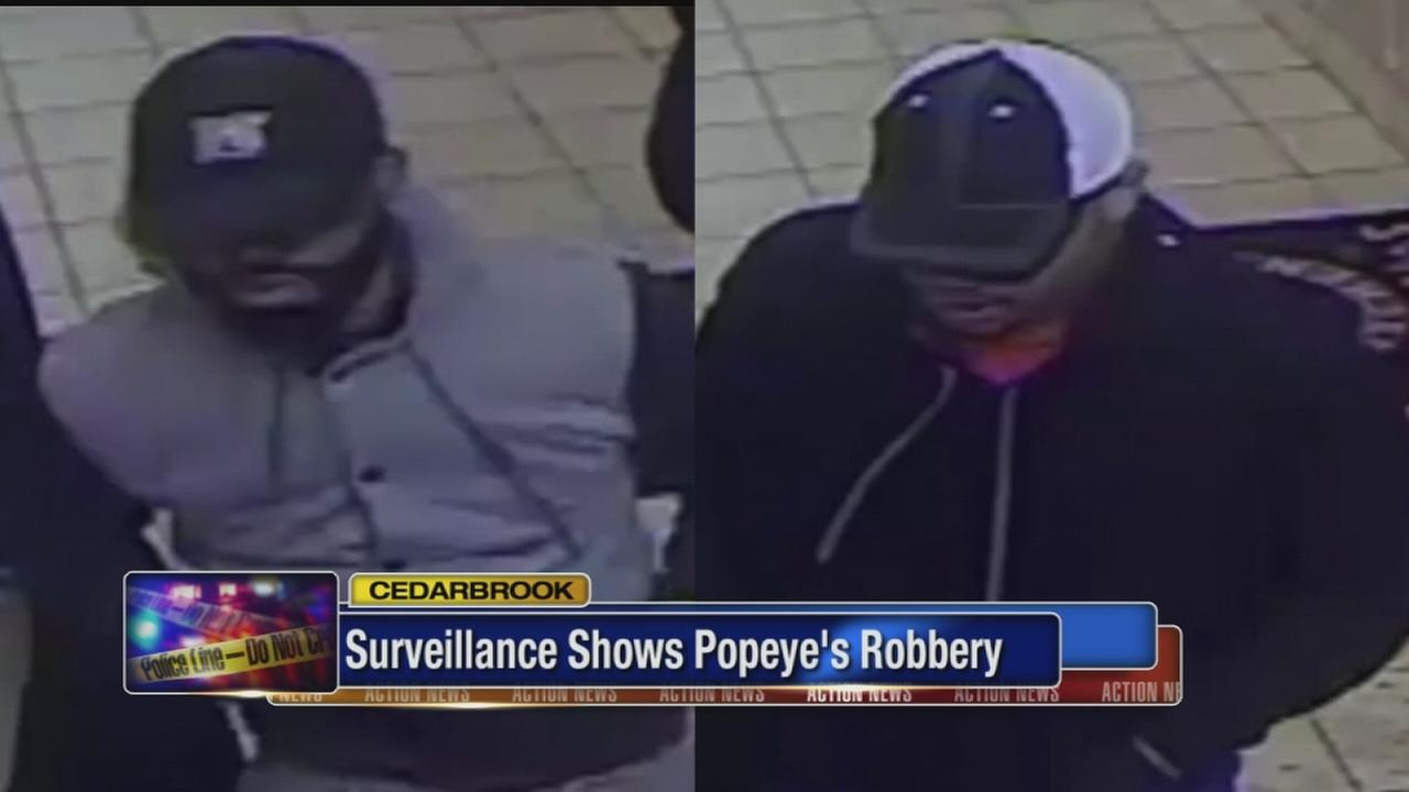 Video shows robbery of Popeyes in Cedarbrook