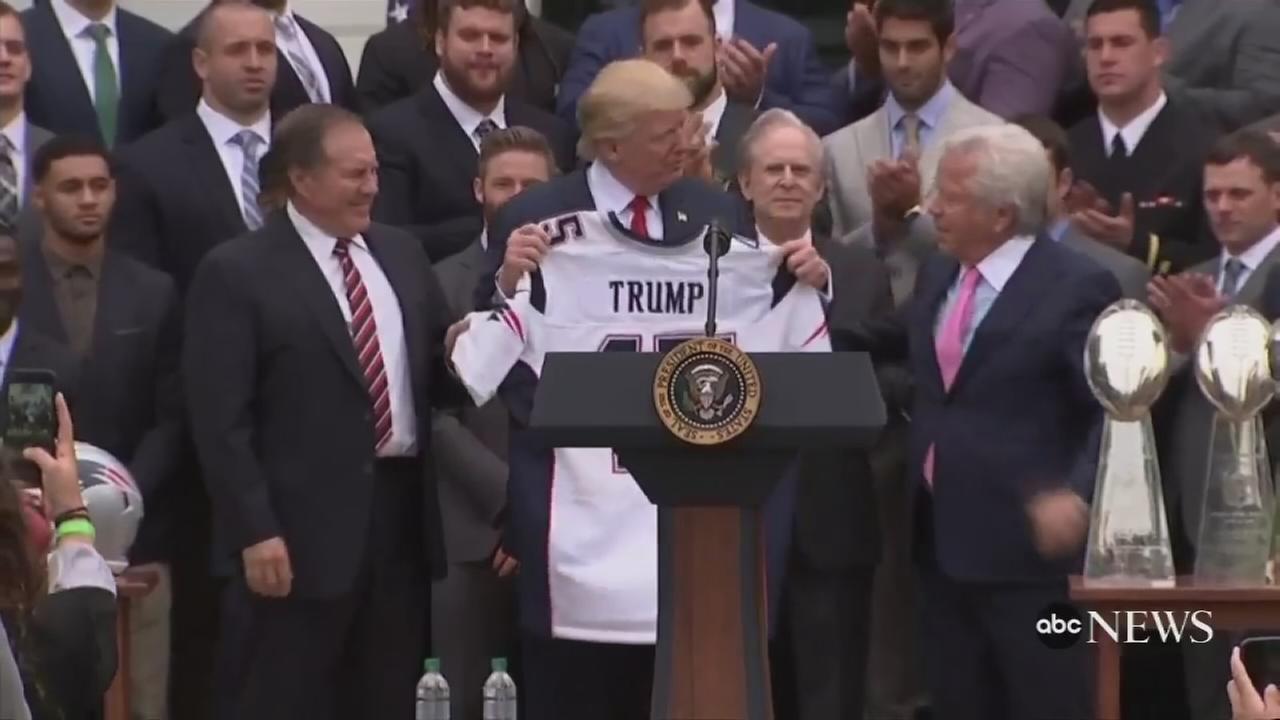 President Trump receives Patriots jersey