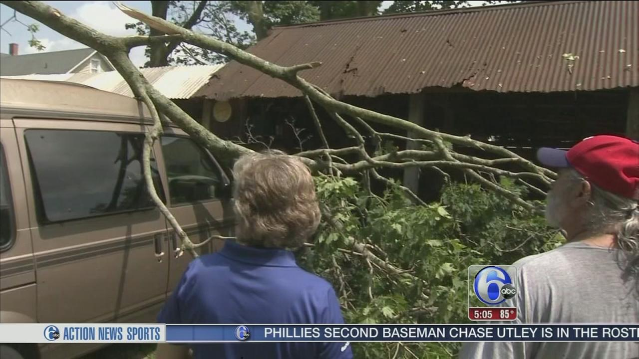 VIDEO: Cleanup after straight-line winds in Burlco