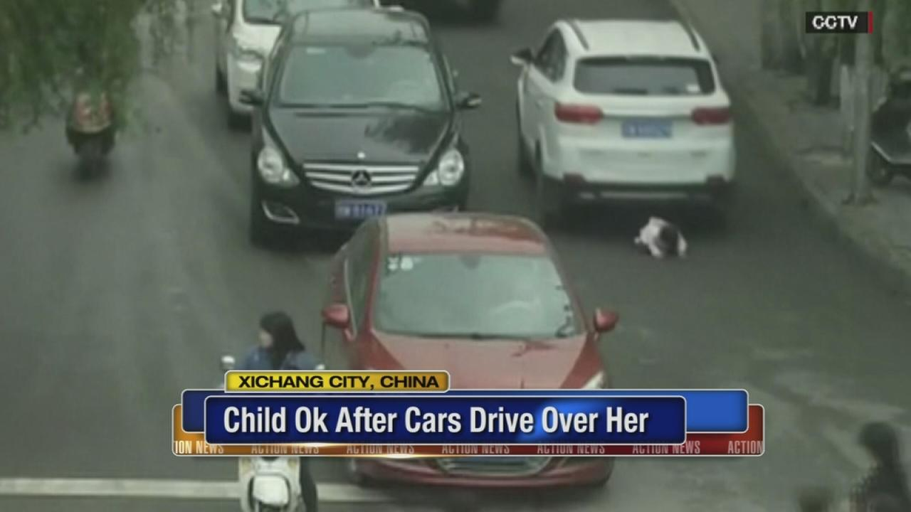 VIDEO: Child OK after cars drive over her