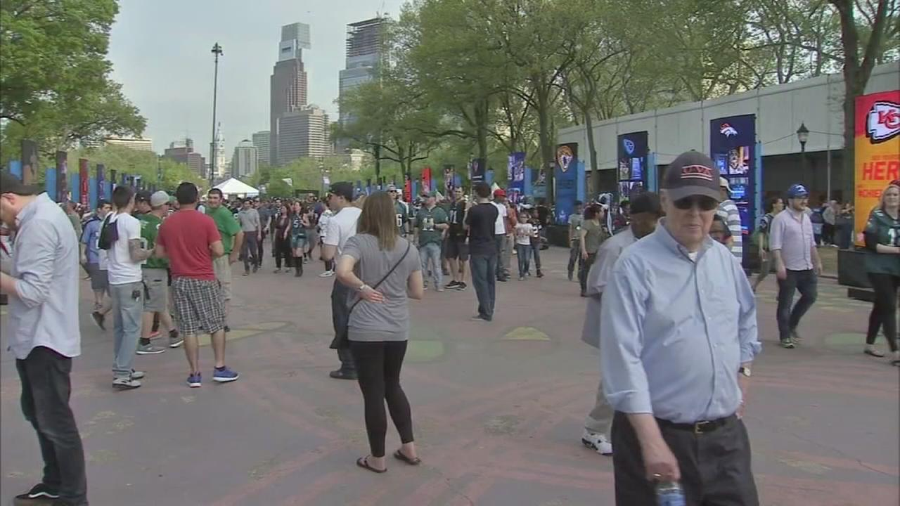Fans party of the Parkway during NFL draft