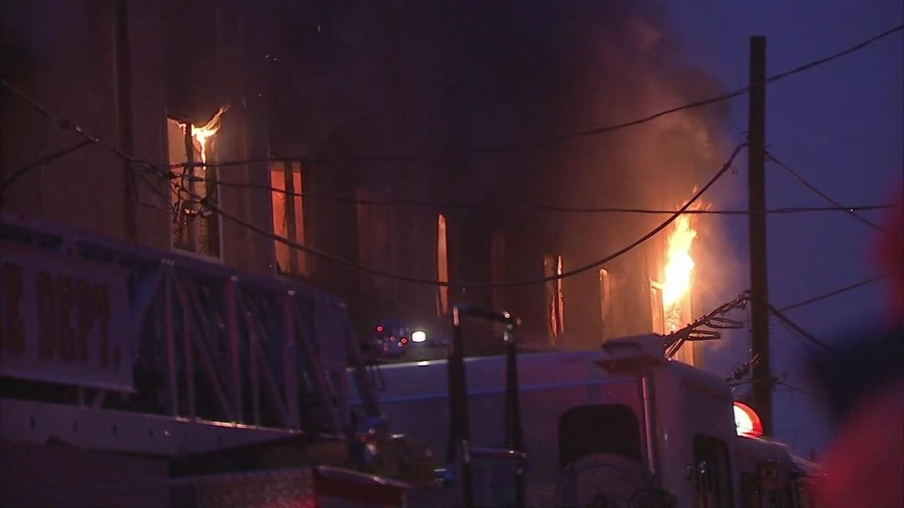VIDEO: 4 alarm fire tears through Frankford warehouse