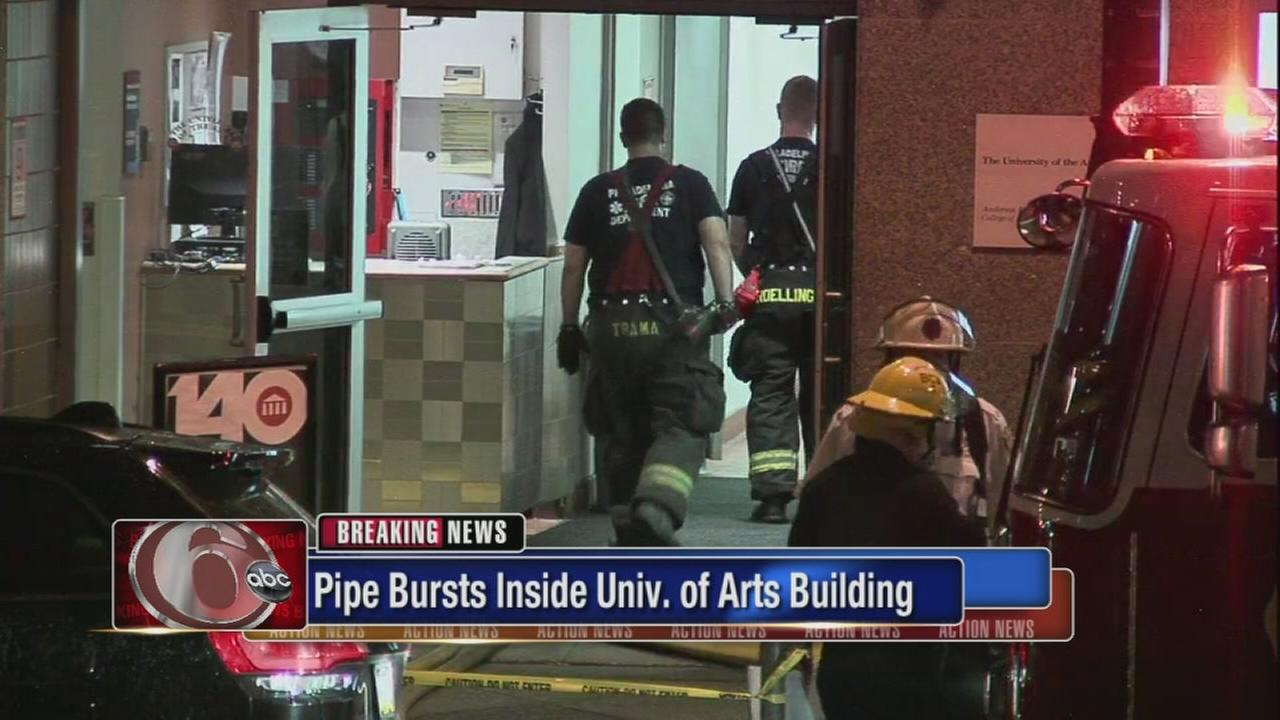 VIDEO: Pipe bursts inside UArts building