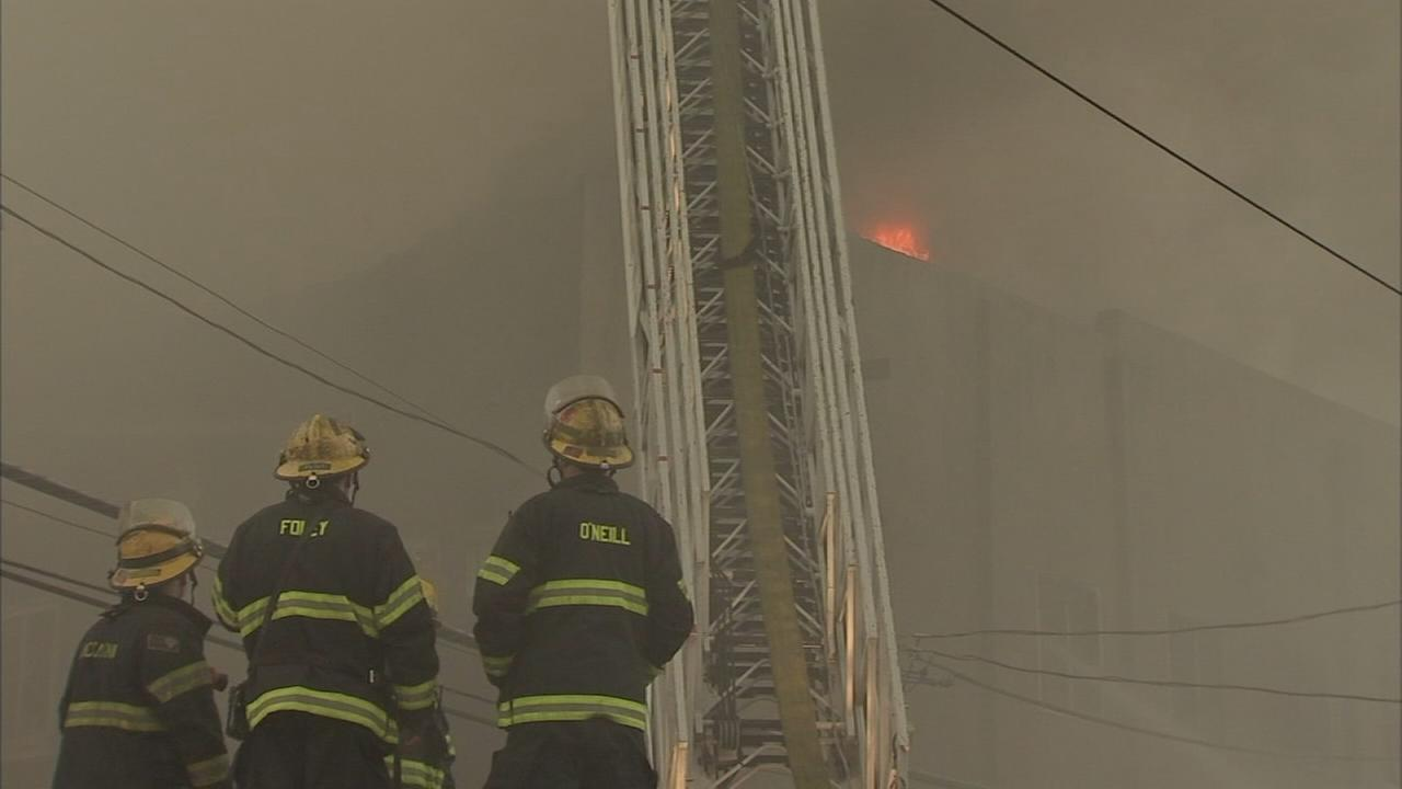 VIDEO: 4 alarm warehouse fire in Frankford