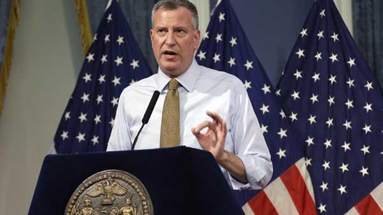 FILE - New York City Mayor Bill de Blasio speaks about Hurricane Arthurs impact on the metropolitan area on Thursday, July 3, 2014, at City Hall in New York.