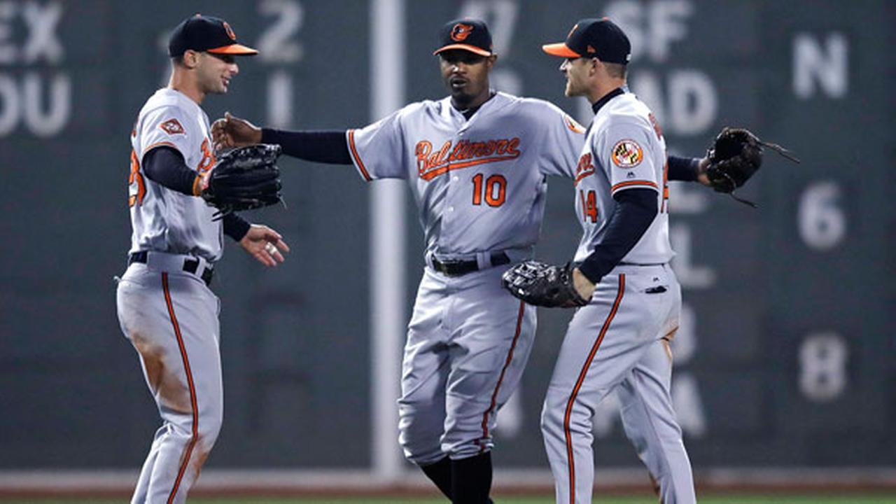Baltimore Orioles center fielder Adam Jones (10) celebrates with right fielder Craig Gentry, right, and left fielder Joey Rickard left,