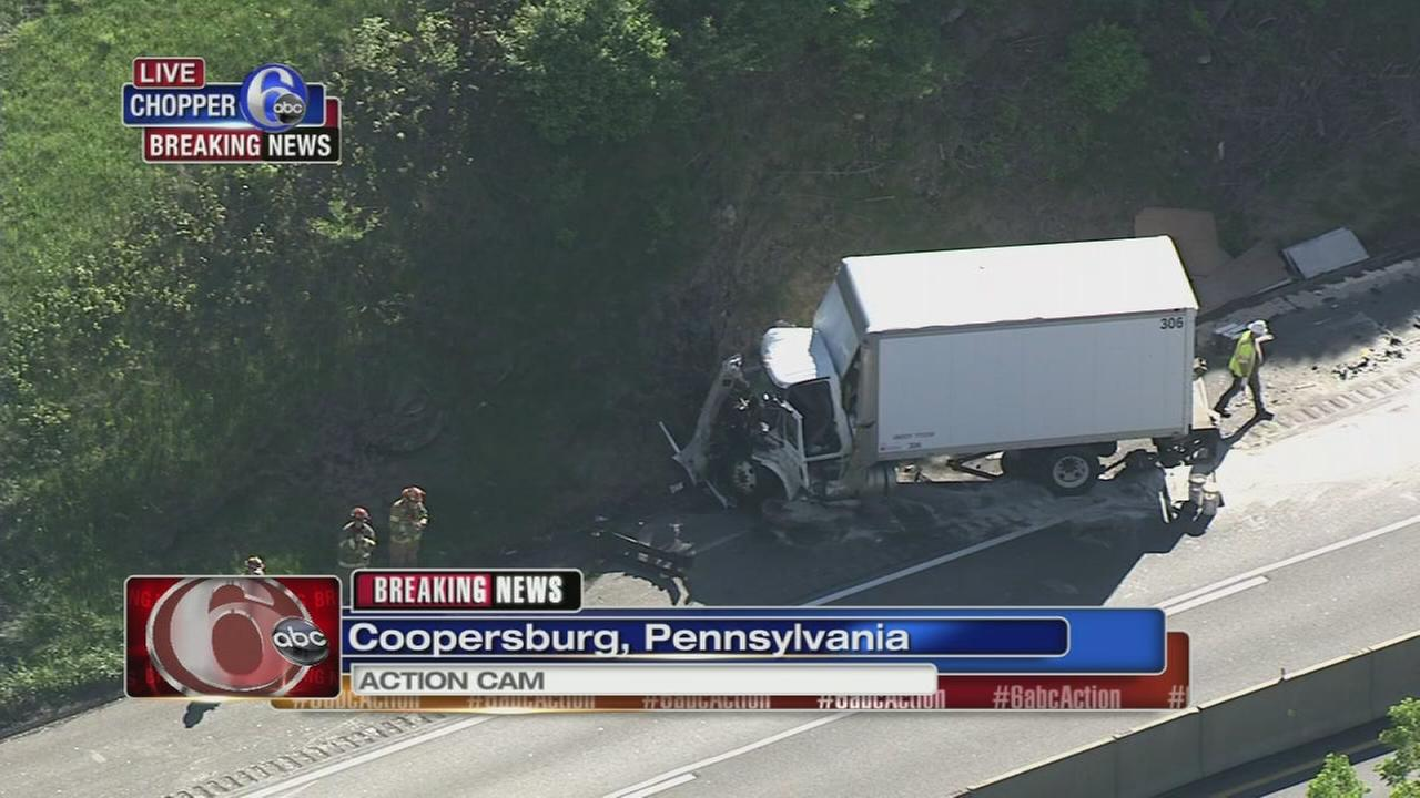 Car, box truck collide on NE Extension in Lehigh Co.