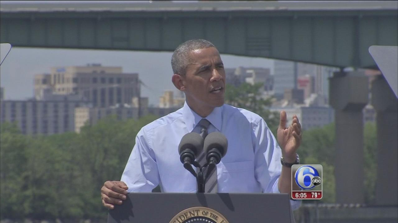 VIDEO: President Obama visits I-495 bridge in Wilmington