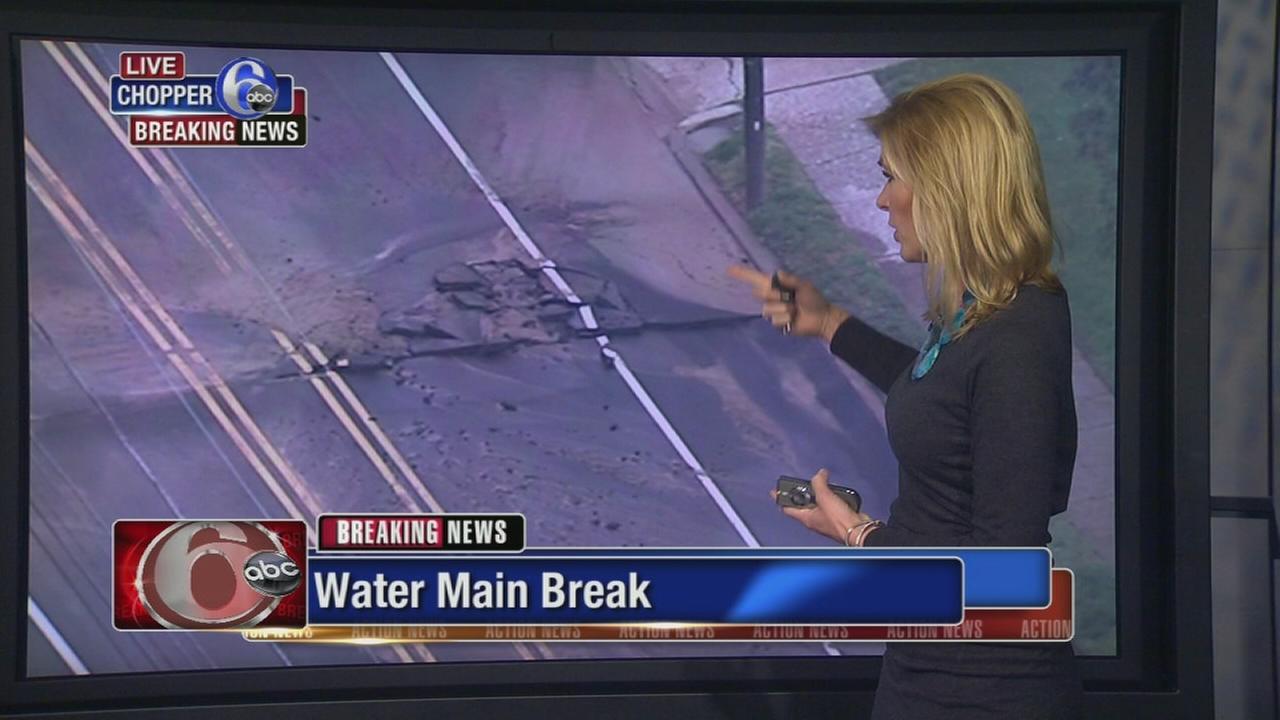 Water main break in East Mt. Airy