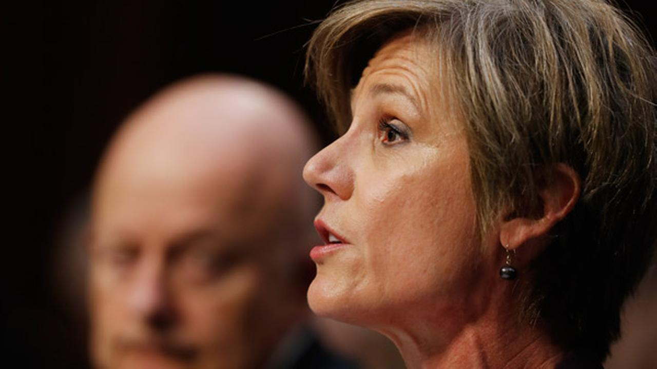 Former acting Attorney General Sally Yates, accompanied by former National Intelligence Director James Clapper testifies on Capitol Hill in Washington, Monday, May 8, 2017.