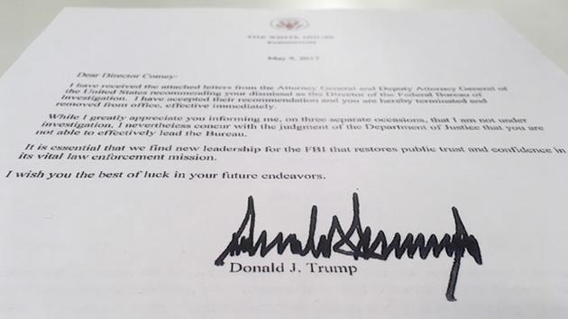 The Termination Letter From President Donald Trump To FBI Director James  Comey Is Photographed In Washington  Letter Of Firing