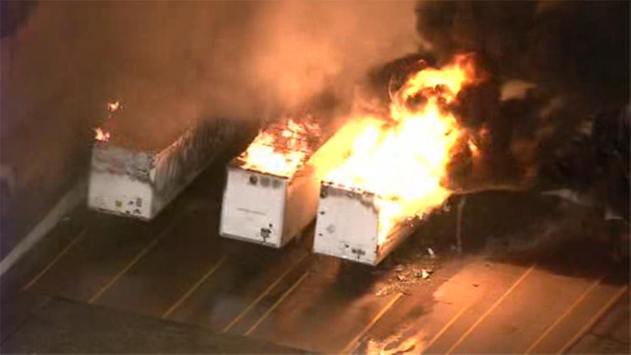 Firefighters battle fire at Hammonton, New Jersey, warehouse