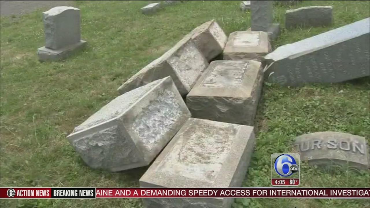 VIDEO: Vandals topple headstones at Del. cemetery