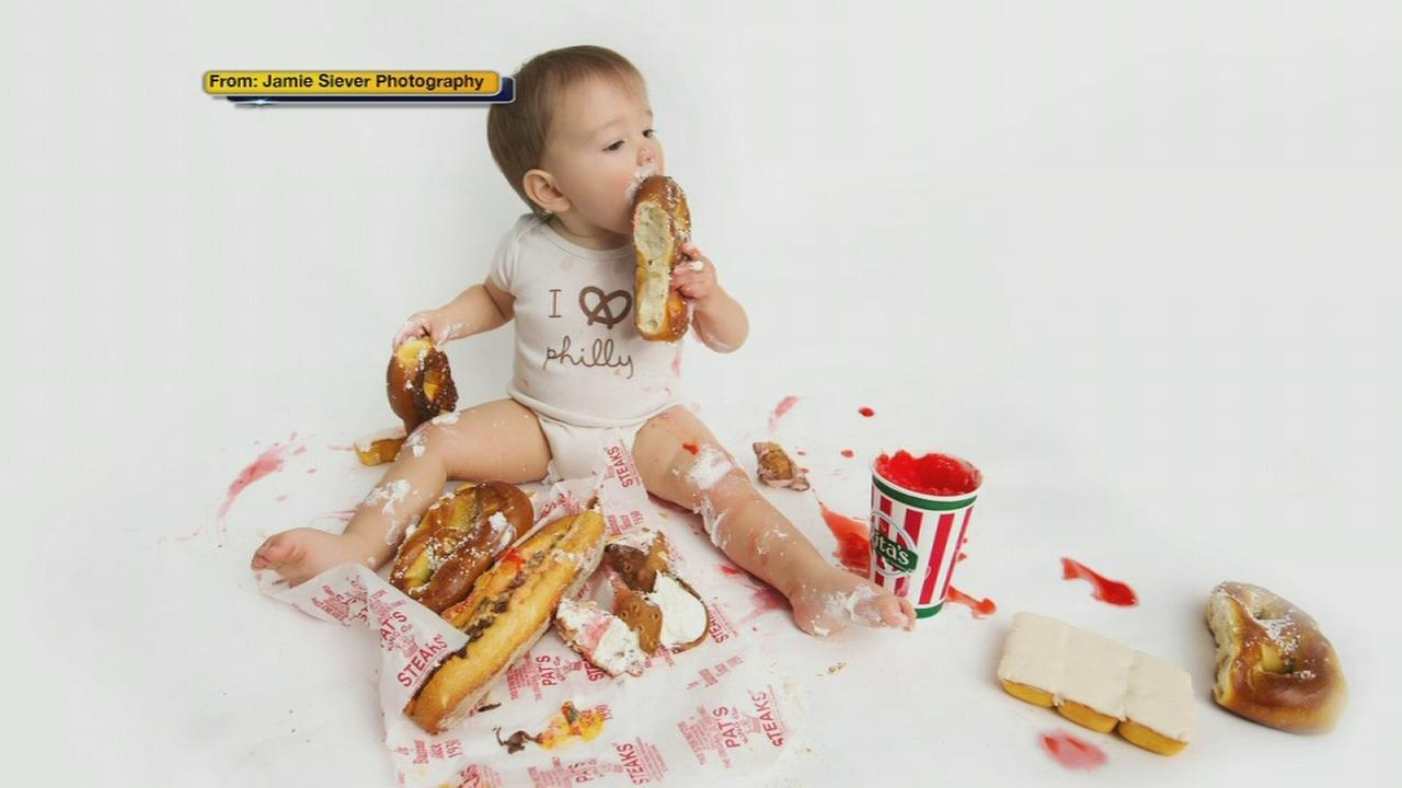 Baby celebrates first birthday with Philly-themed food smash