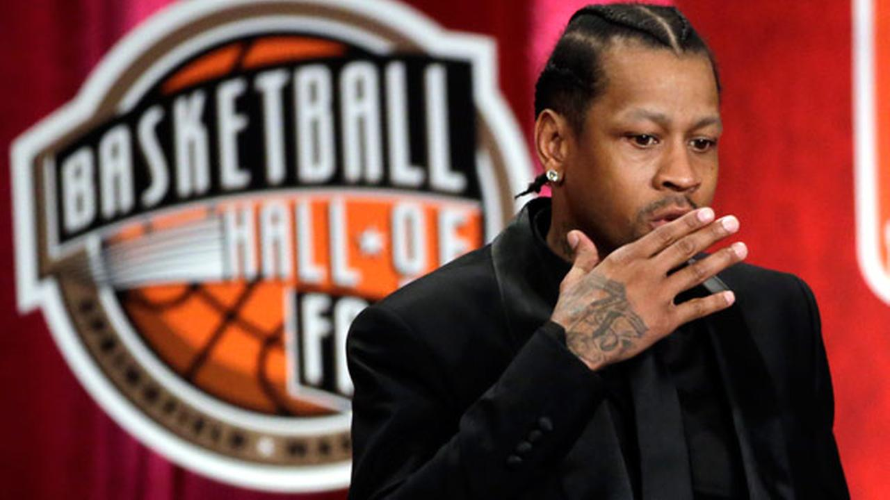 2016 Basketball Hall of Fame inductee Allen Iverson blows a kiss during induction ceremonies at Symphony Hall, Friday, Sept. 9, 2016, in Springfield, Mass.