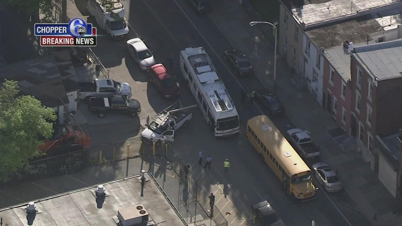 School bus, pickup truck collide