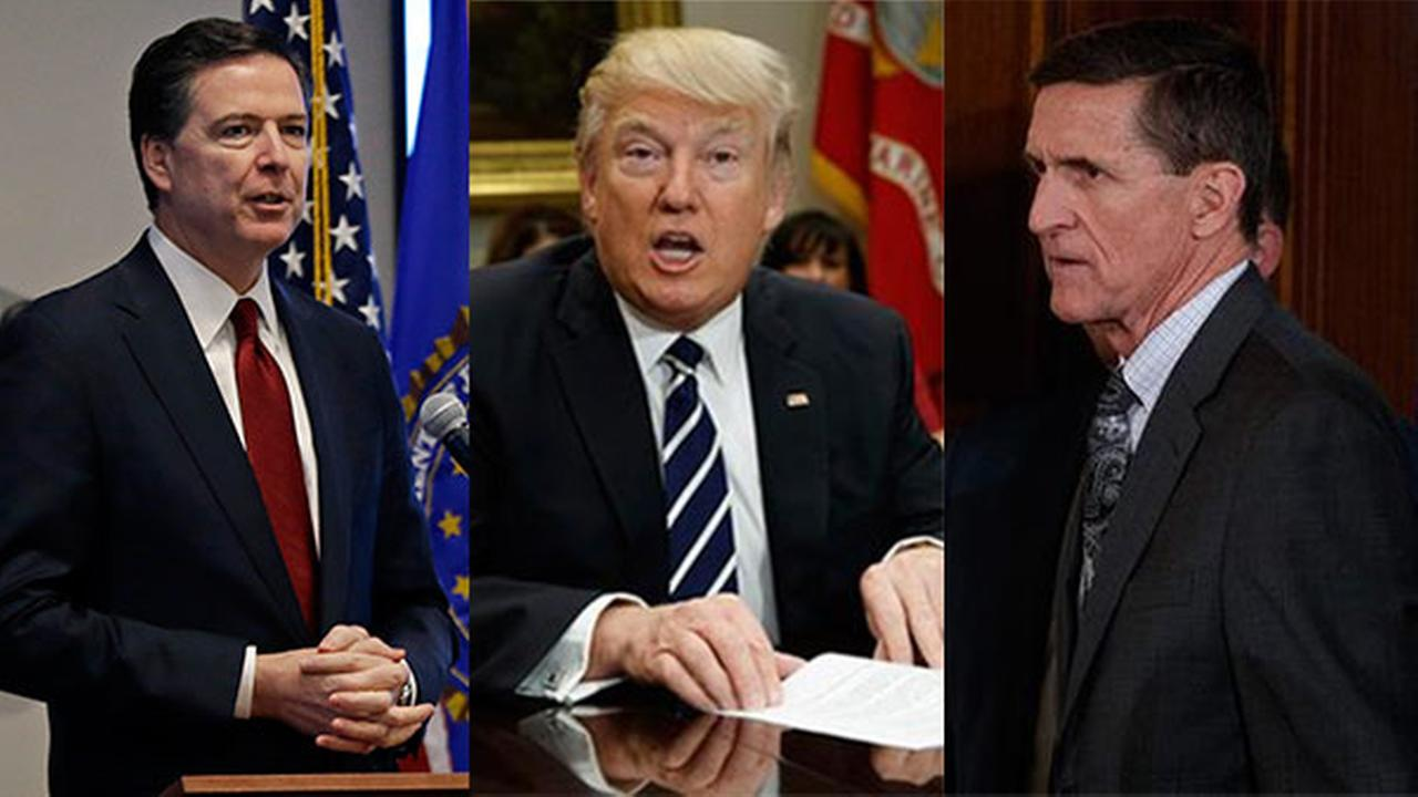 James Comey, President Donald Trump and Lt. Gen. Michael Flynn.