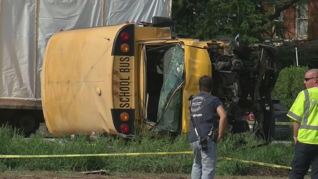 School bus flips in Lancaster County hit-and-run crash