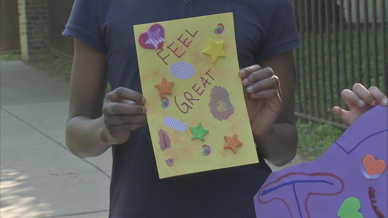 Students make cards of encouragement after bus crash