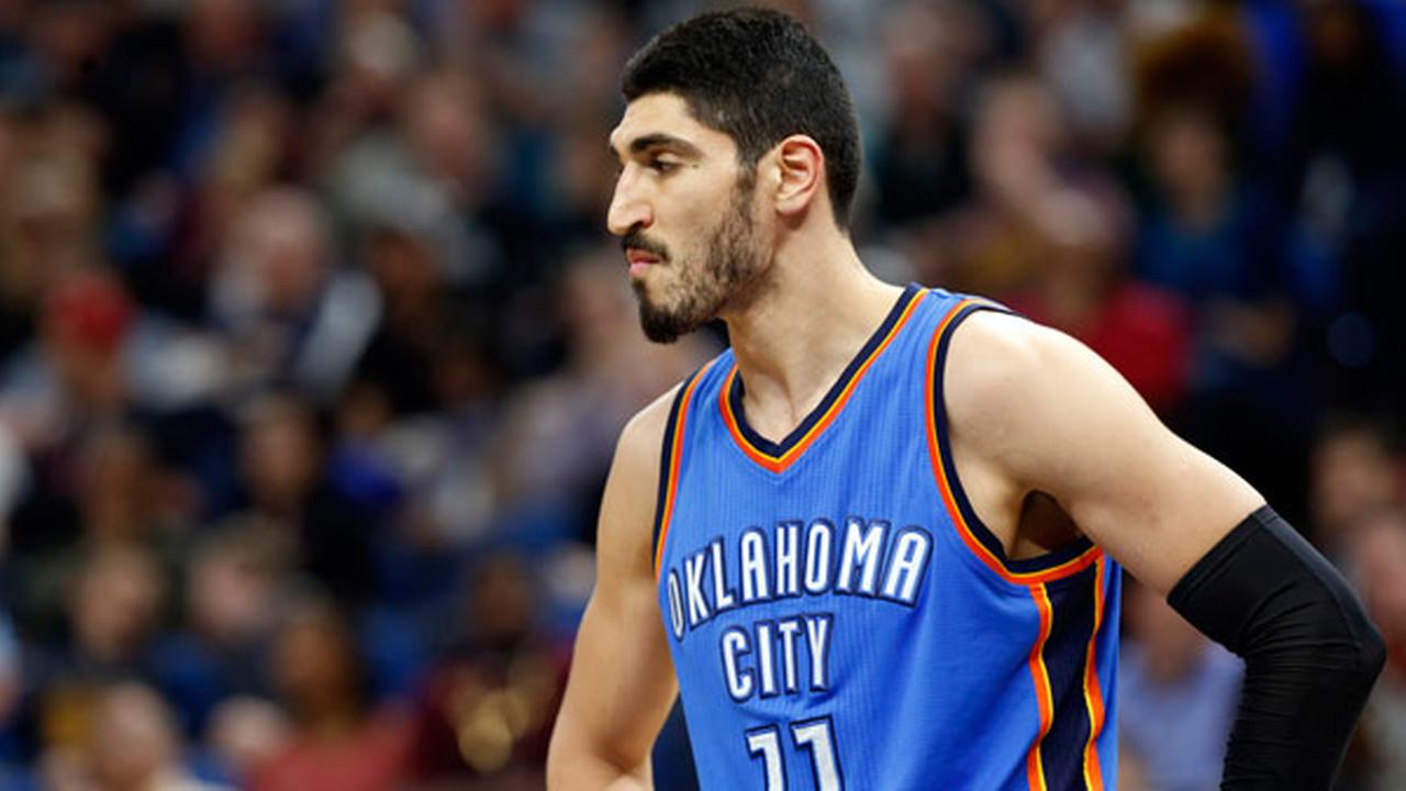 Oklahoma City Thunders Enes Kanter of Turkey plays during the second half of an NBA basketball game against the Minnesota Timberwolves Tuesday, April 11, 2017, in Minneapolis