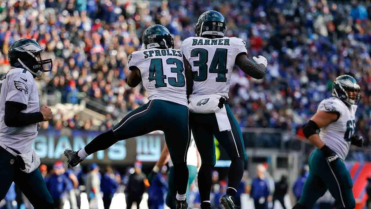 Philadelphia Eagles running back Darren Sproles (43) celebrates with Philadelphia Eagles running back Kenjon Barner (34) after scoring a touchdown against the New York Giants.