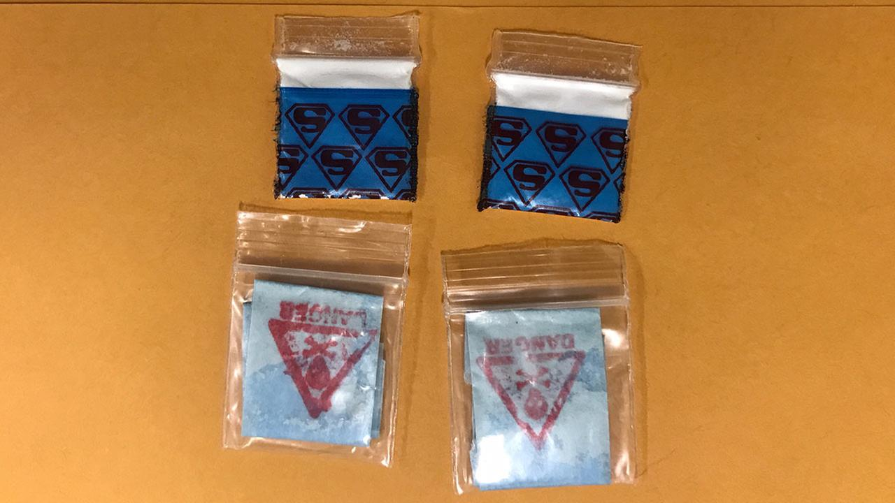 Authorities are warning about heroin baggies with the above markings, saying they could contain a lethal mix of the drug fentanyl.