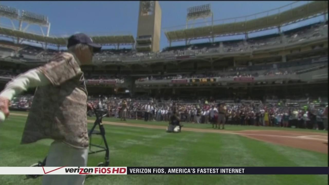 VIDEO: 105-year-old woman throws out first pitch