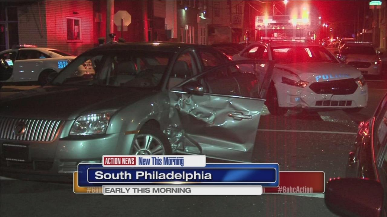 VIDEO: Police cruiser collides with car in South Phila.