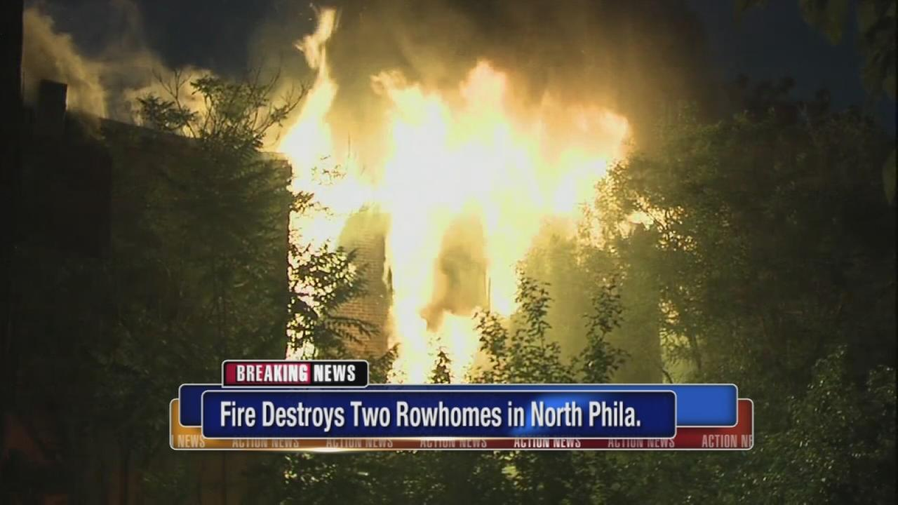 Fire destroys rowhomes in North Philadelphia