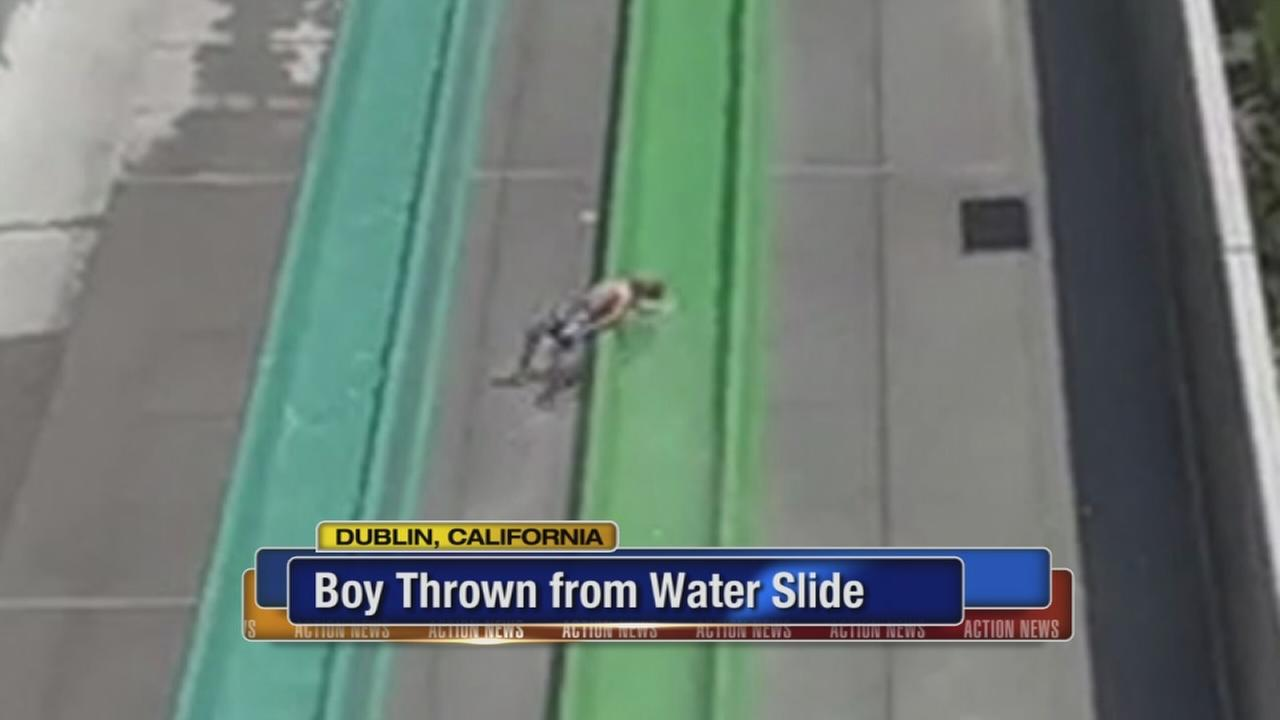 Boy thrown from water slide