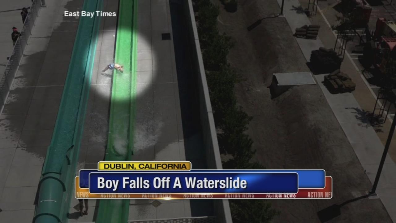 Video captures the moment a boy falls off a waterslide