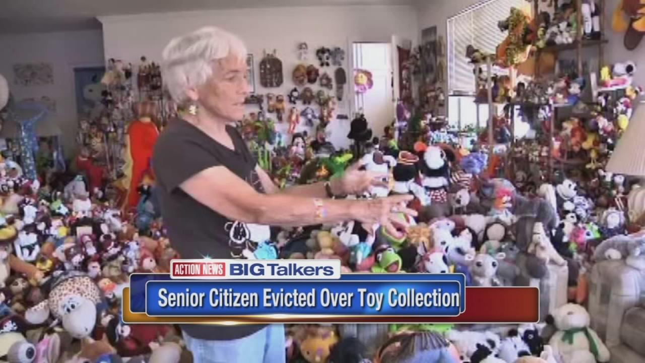 Woman claims she was evicted for her large toy collection