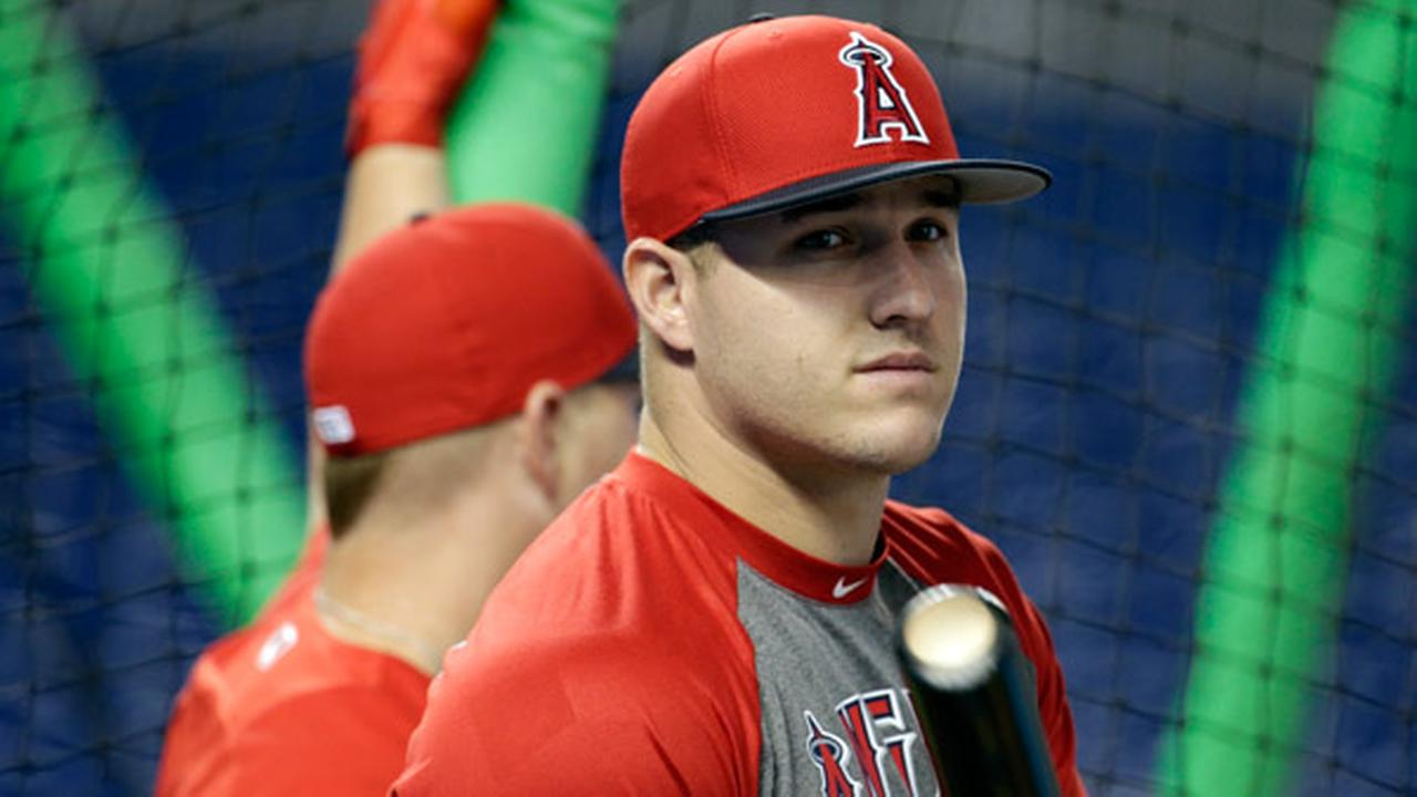 Los Angeles Angels center fielder Mike Trout waits to bat during batting practice an interleague baseball game, Friday, May 26, 2017, in Miami.