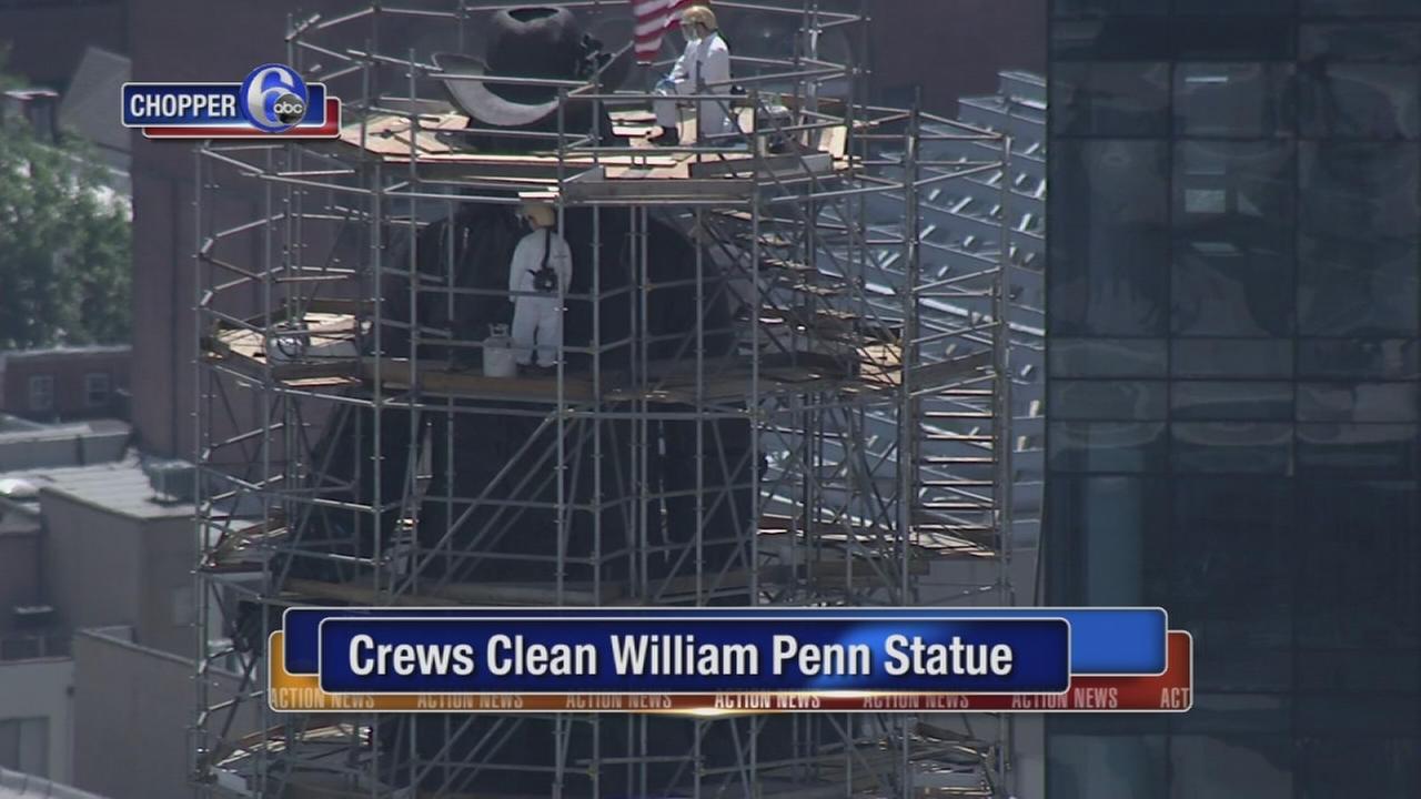 Crews clean William Penn Statue