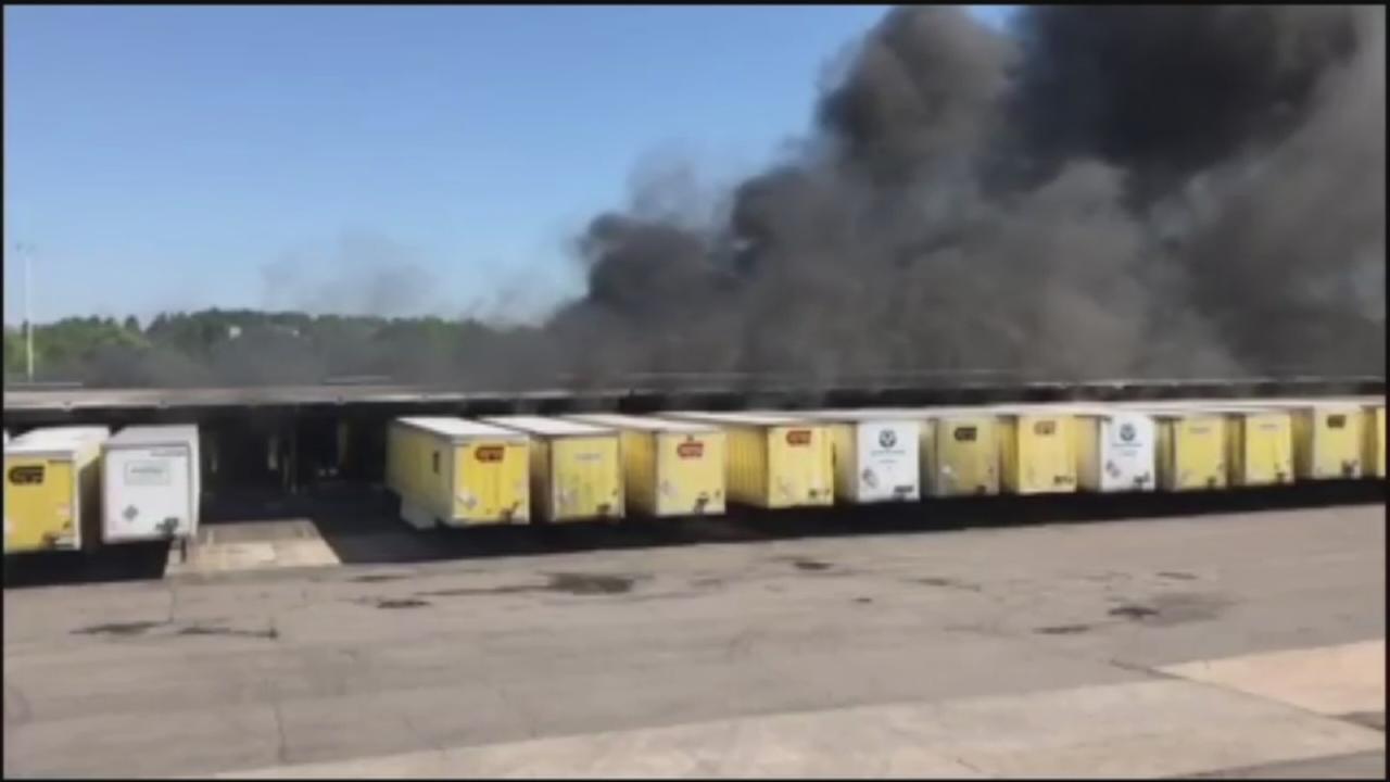Trucks carrying butane, fireworks catch fire