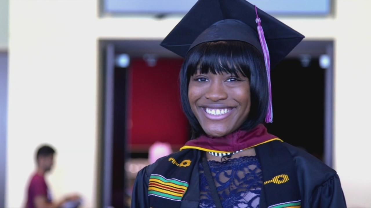 High school principals message motivates college grad