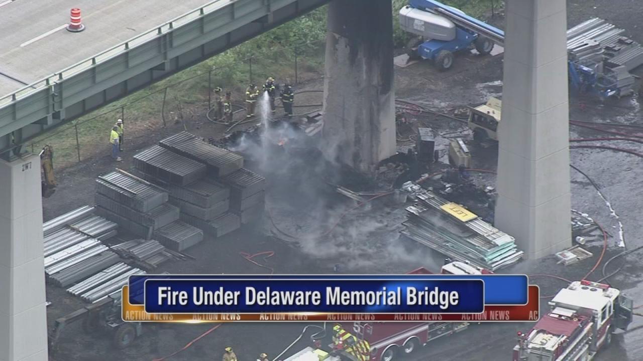 Fire erupts under Delaware Memorial Bridge