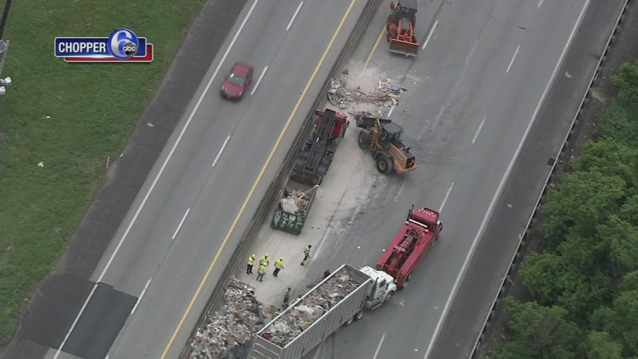 Trash truck overturns on Pa. Turnpike