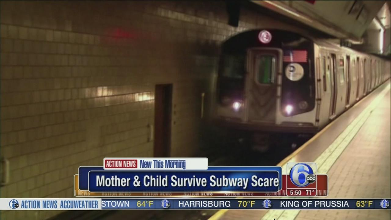 VIDEO: Mother and child survive subway scare