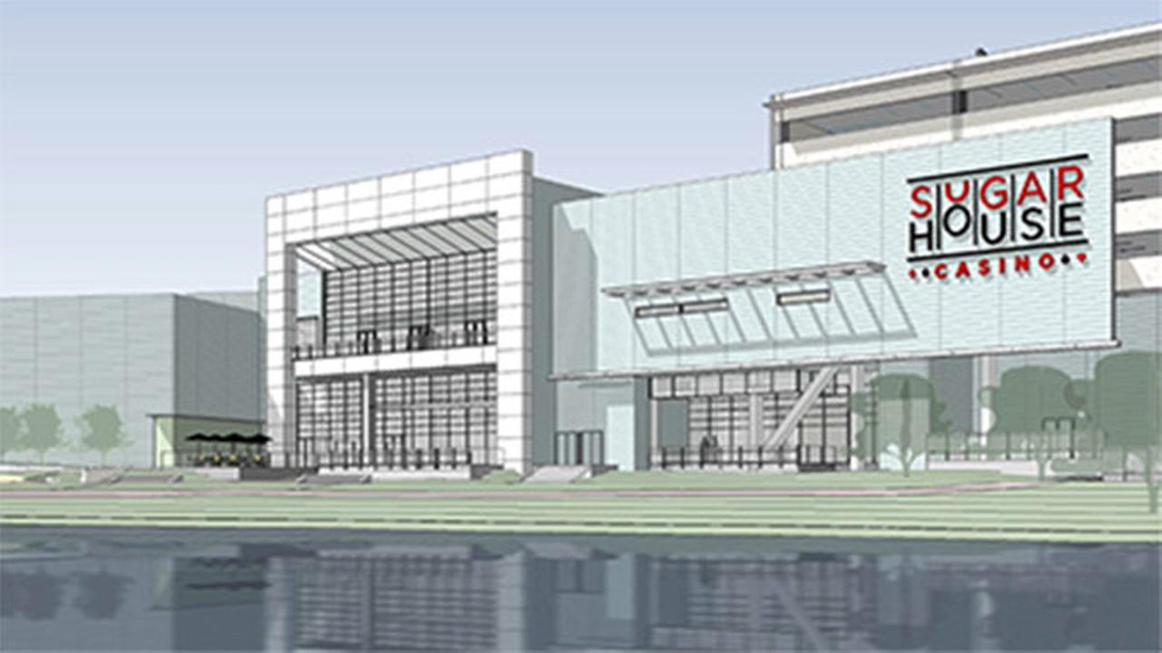 Rendering of Delaware River view of new expansion to SugarHouse Casino.