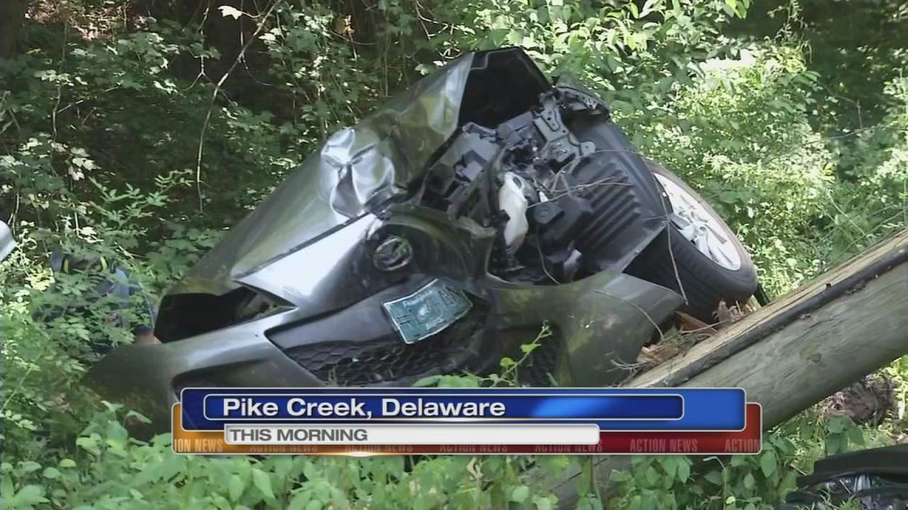 Woman trapped after crash in Pike Creek, Del.